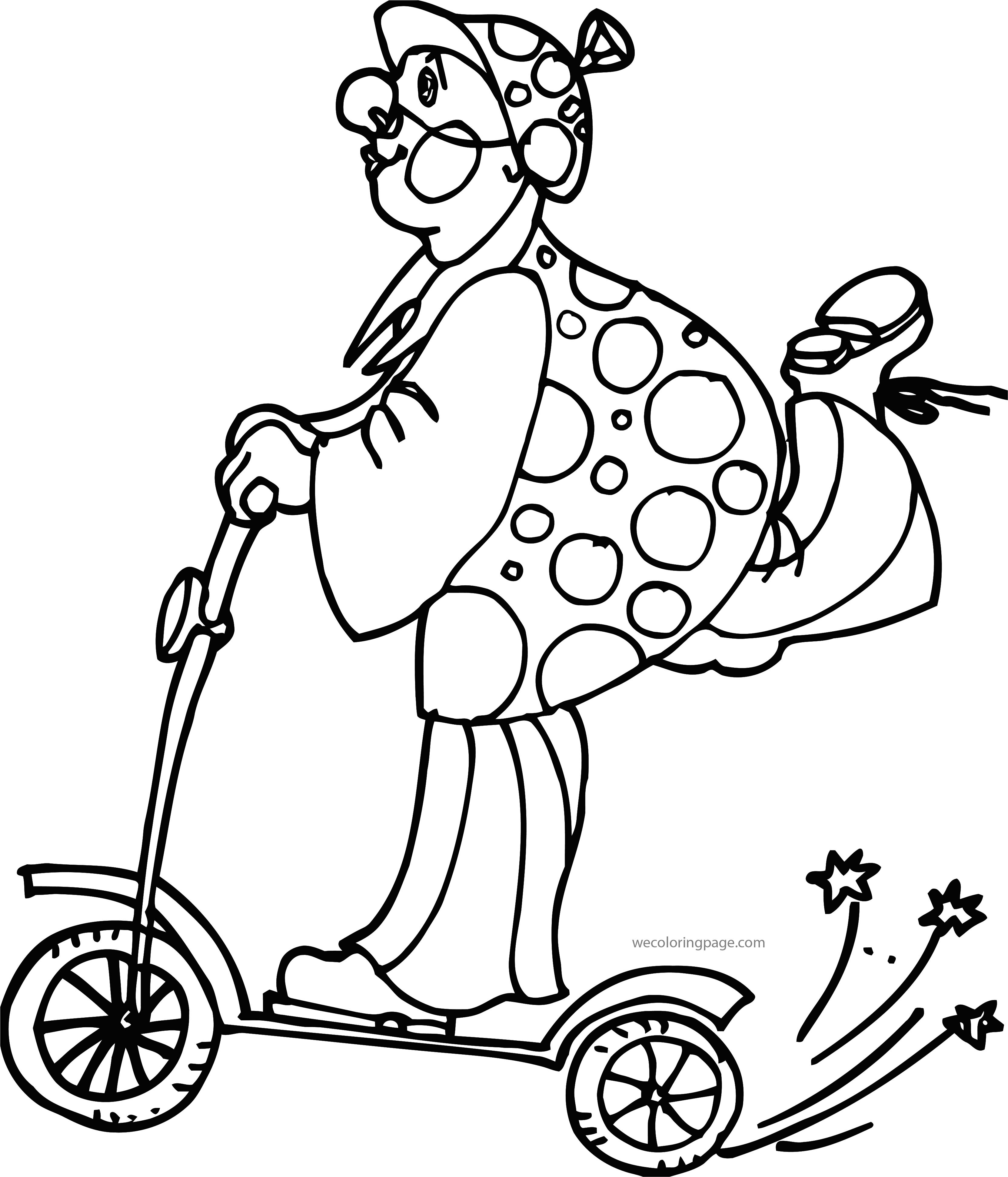 Clown Skater Coloring Page