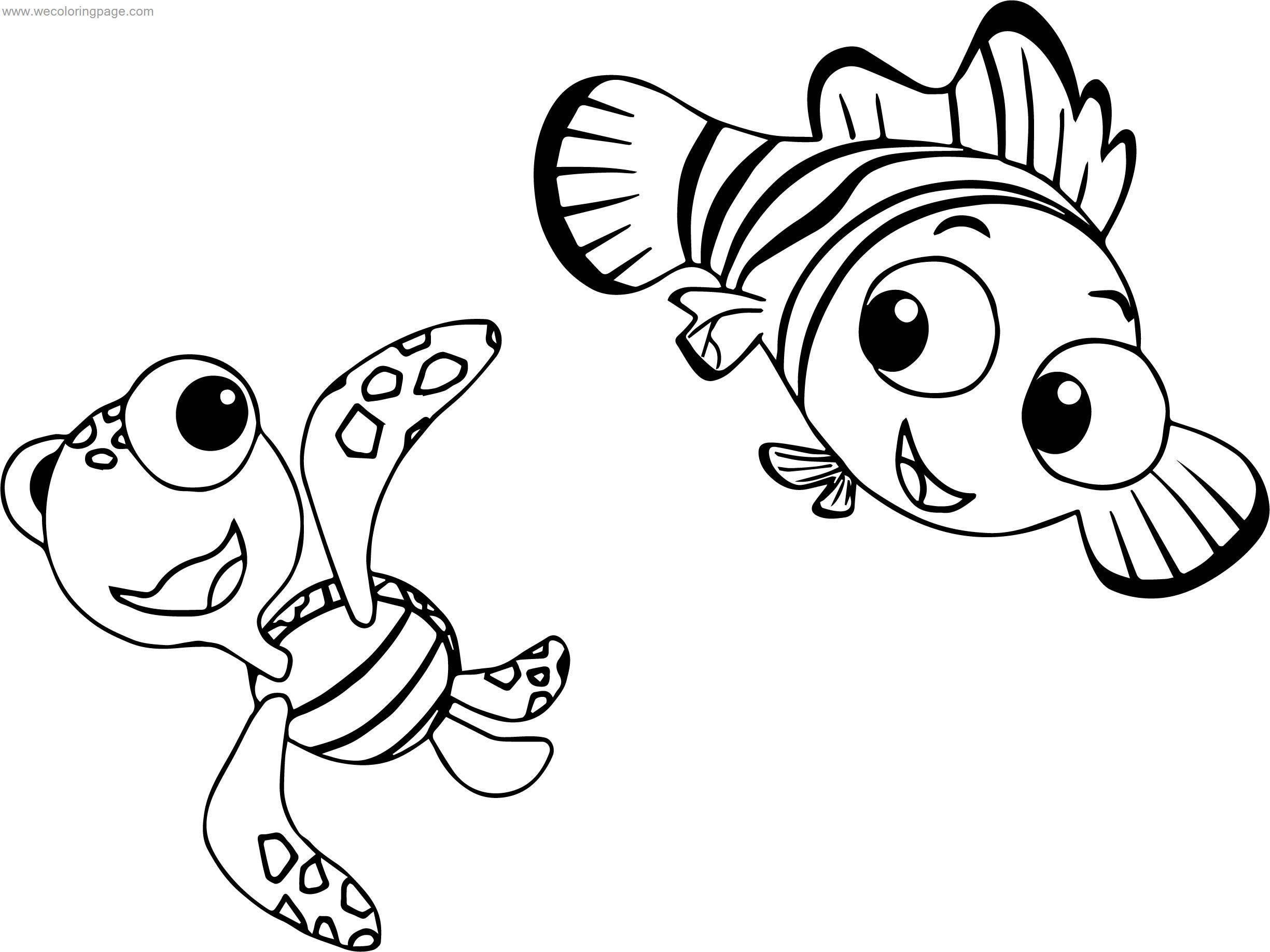 Disney Finding Nemo Squirt Turtle Coloring Pages