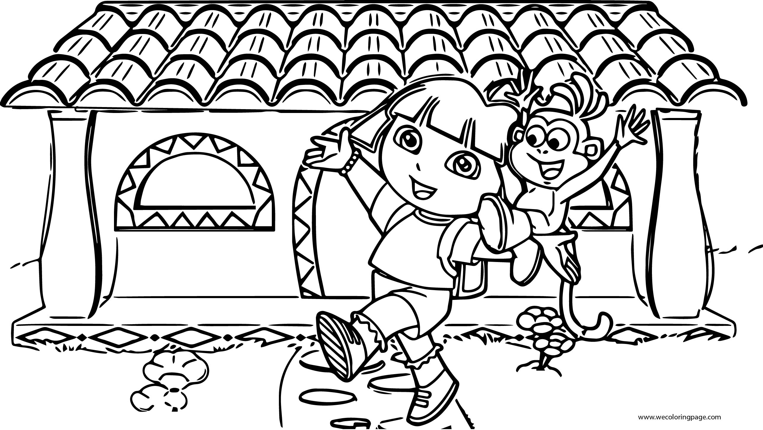 Dora The Explorer Front Home With Friend Monkey Coloring Page ...