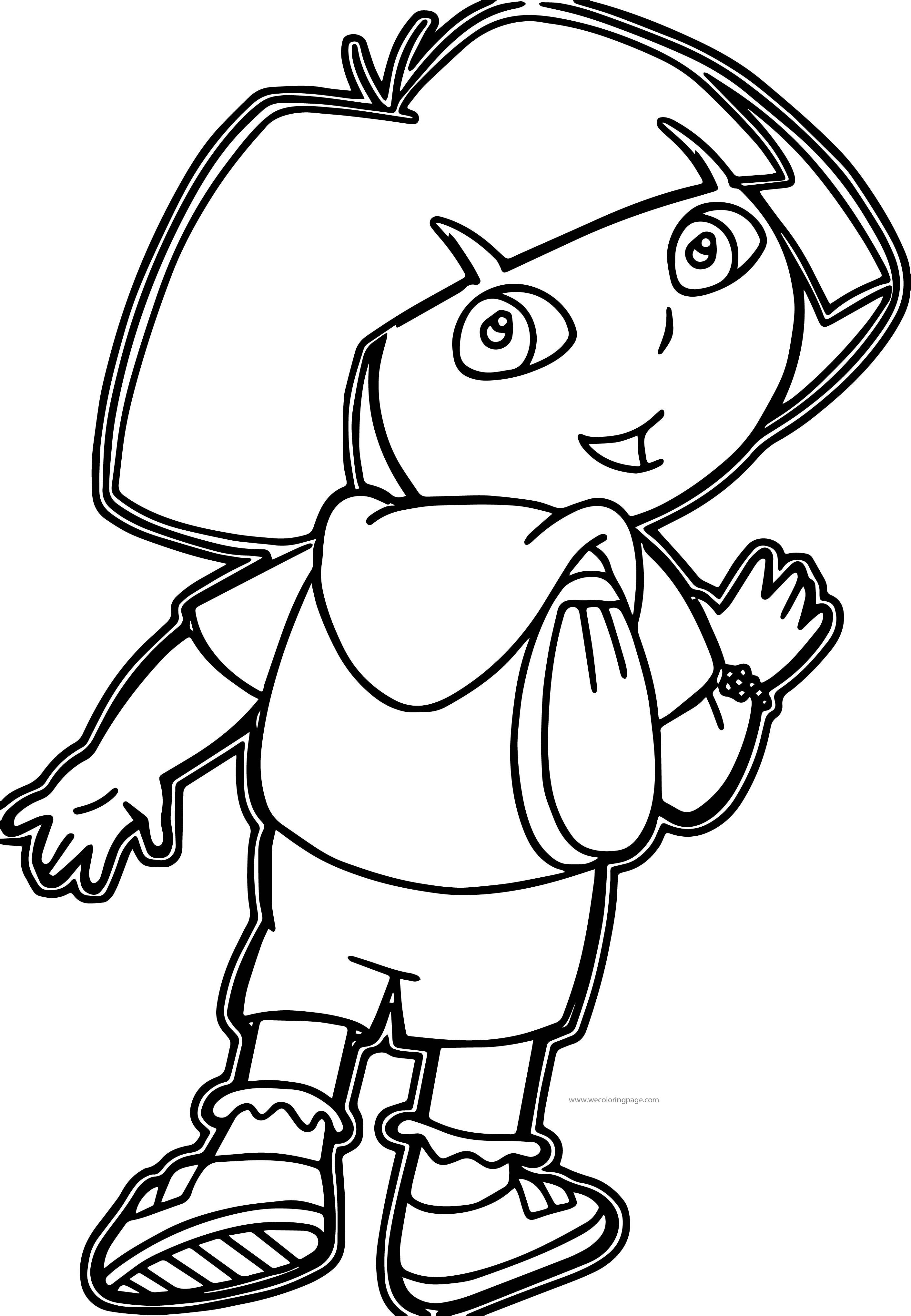 Dora The Explorer My School Bag Coloring Page