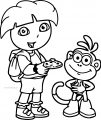 Dora The Explorer With Monkey Friend Eat Food Coloring Page