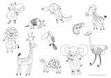 Funny Hand Drawn Animals Coloring Page