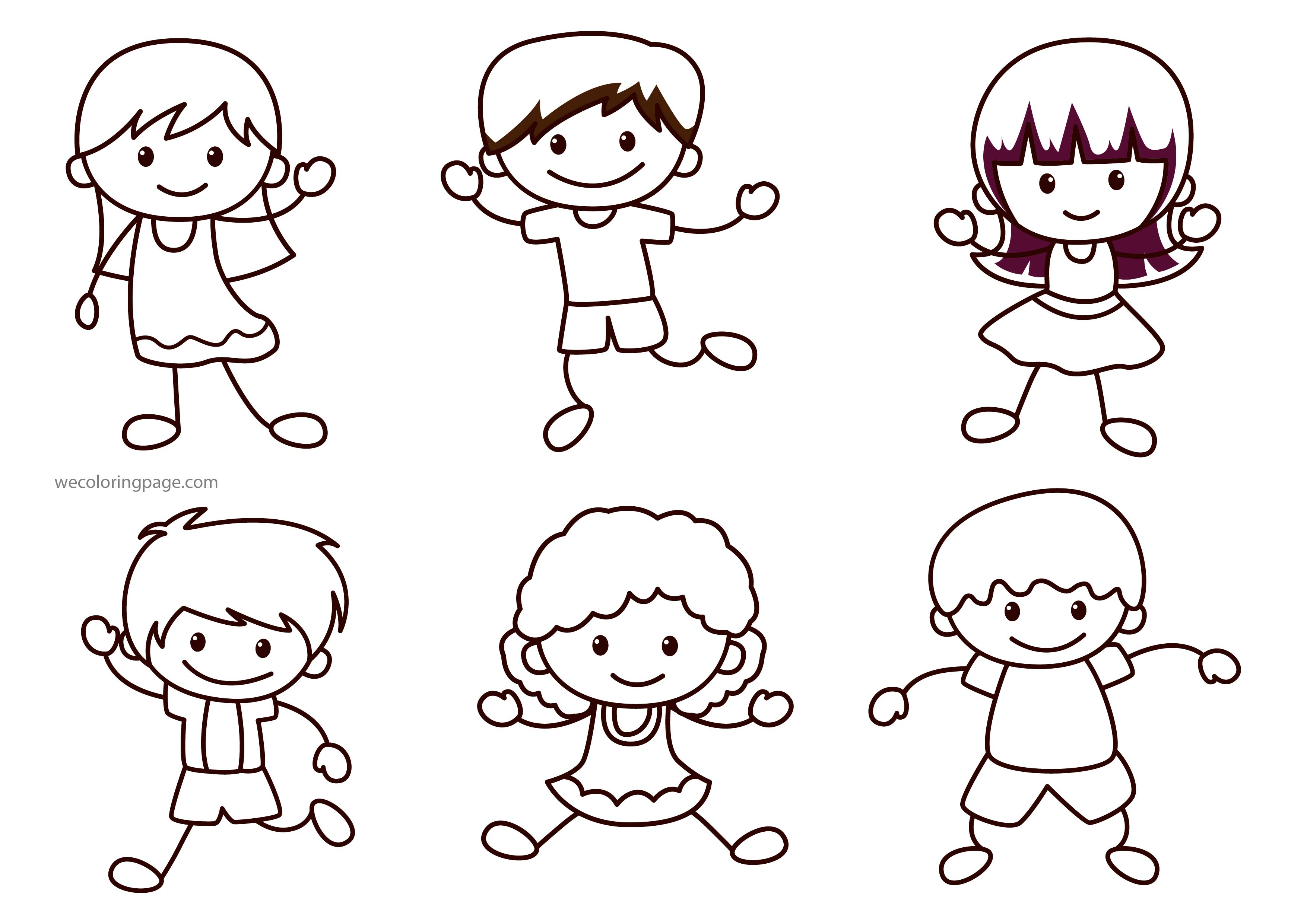 Happy Children Collection Coloring Page