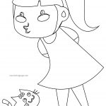 Happy Girl Cat Children Coloring Page