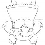 Happy Girl Children Reverse Coloring Page