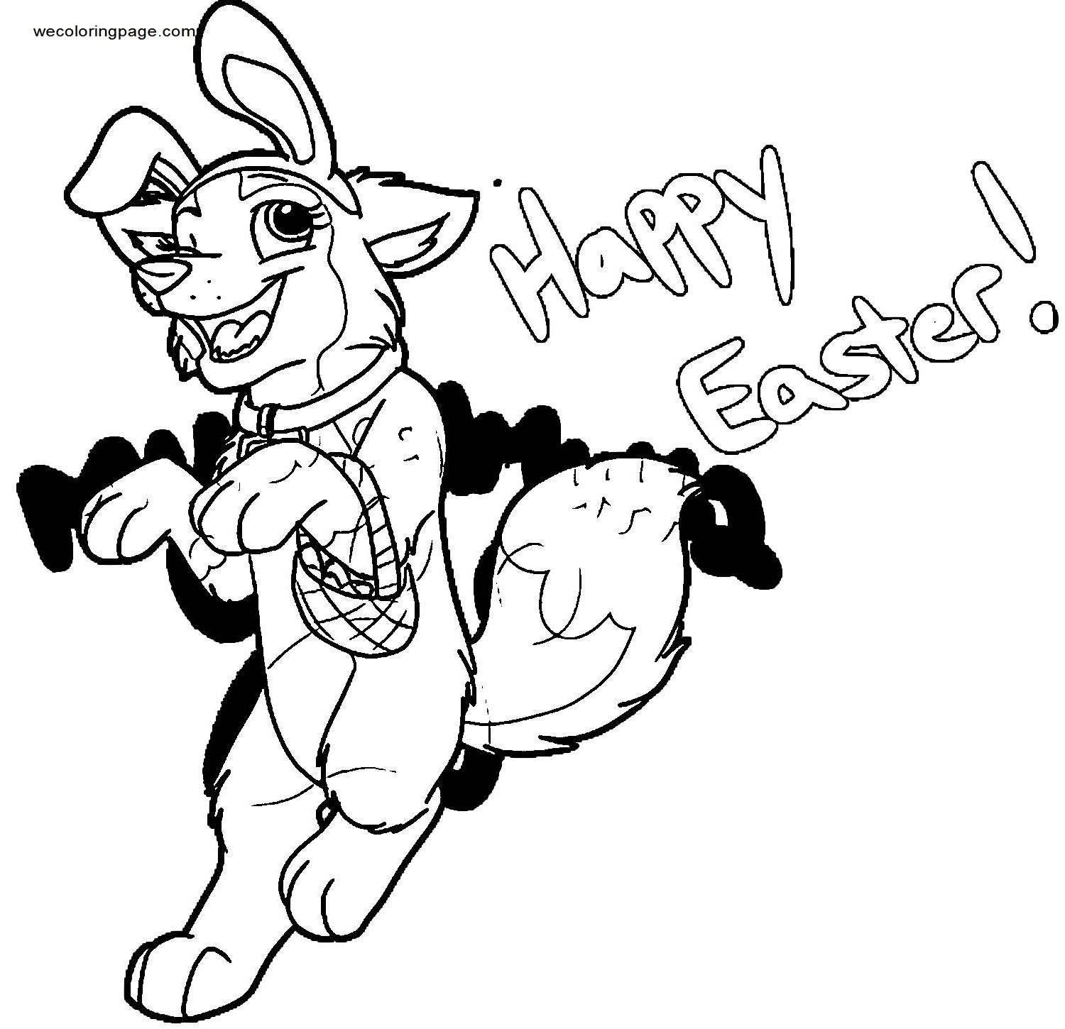 Here Comes The Easter Puppy Coloring Page
