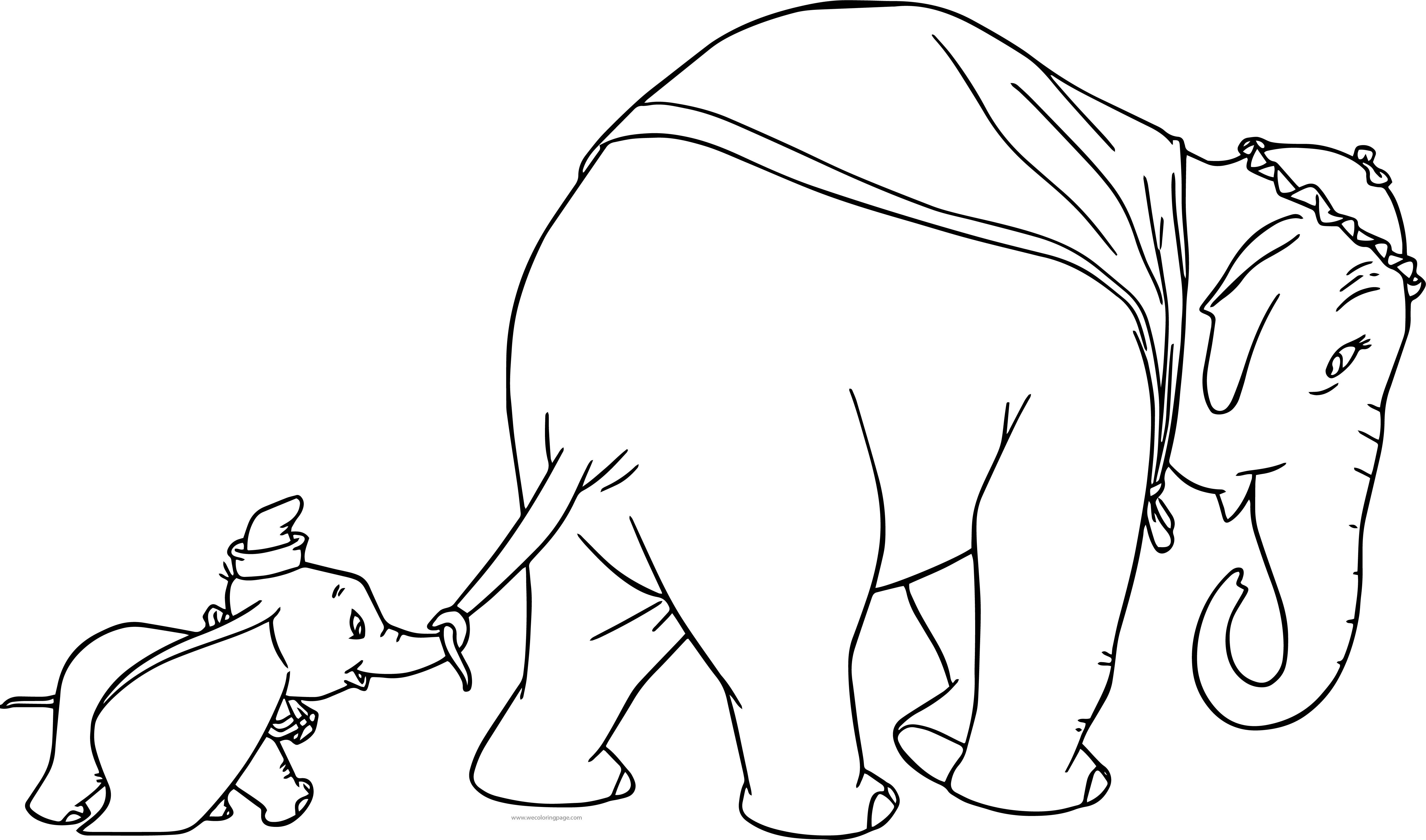 Jumbo Dumbo And Mom Walking Coloring Pages