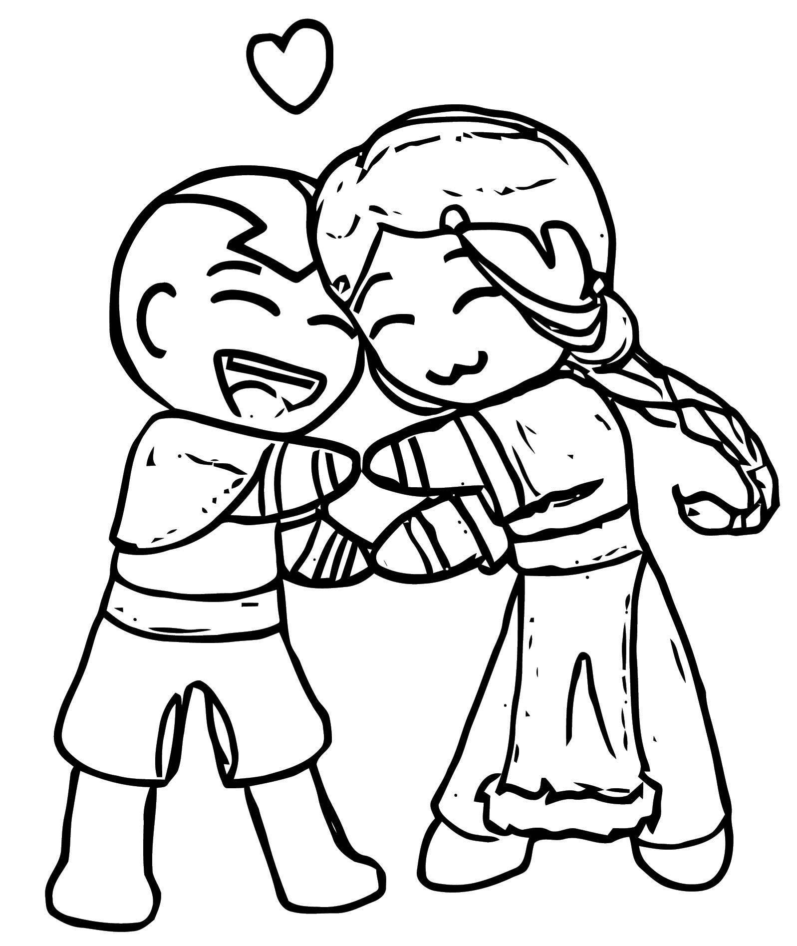 Avatar Aang Coloring Page: Katara Loves Aang Envious Chiko Avatar Aang Coloring Page
