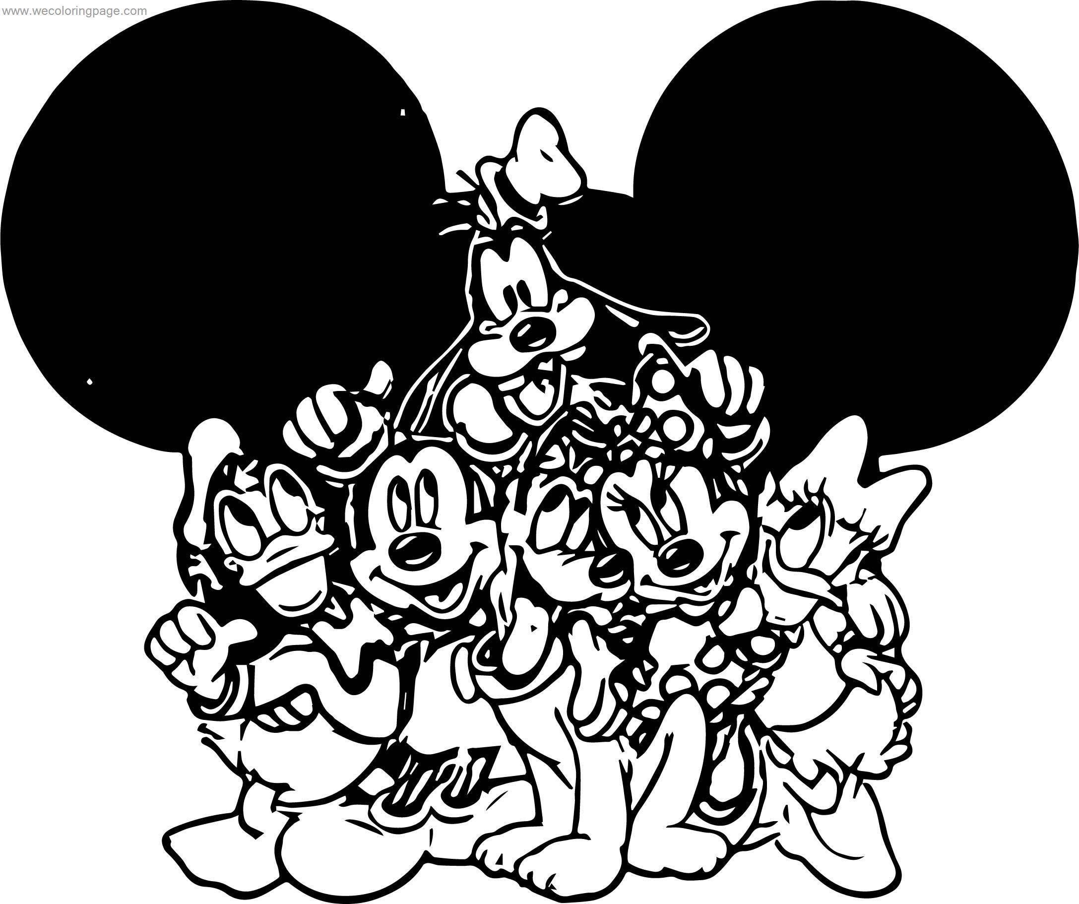 Mickey Minnie Donald Dark Goofy Pluto Birthday Gift Coloring Page
