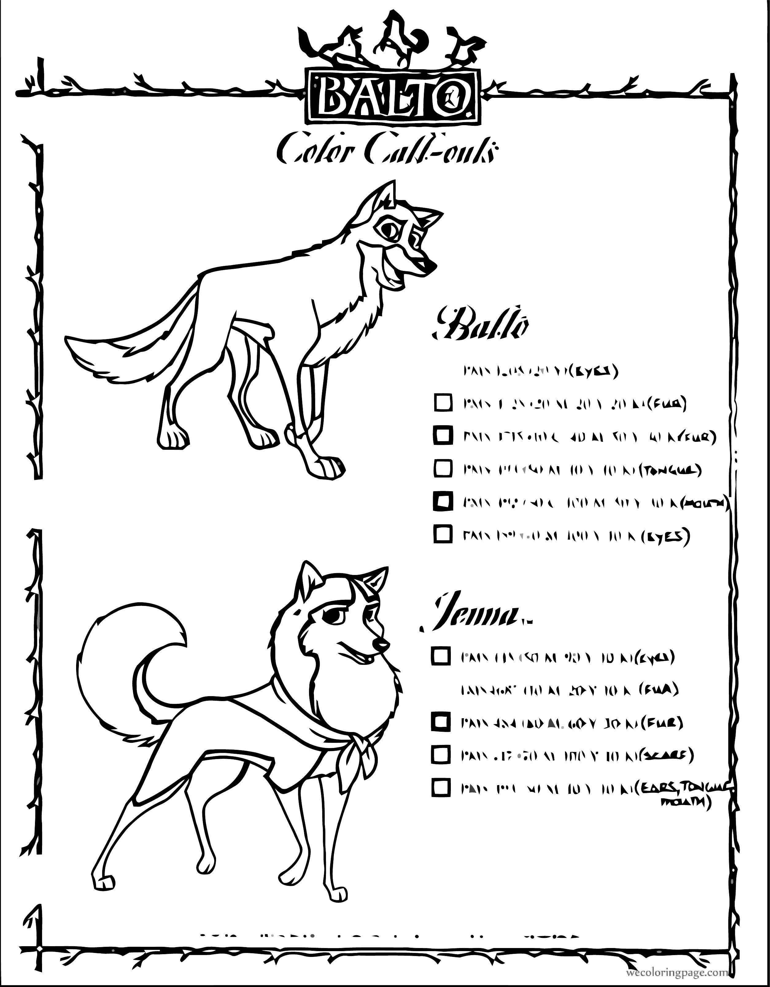 P Colour Key Balto Wolf Coloring Page