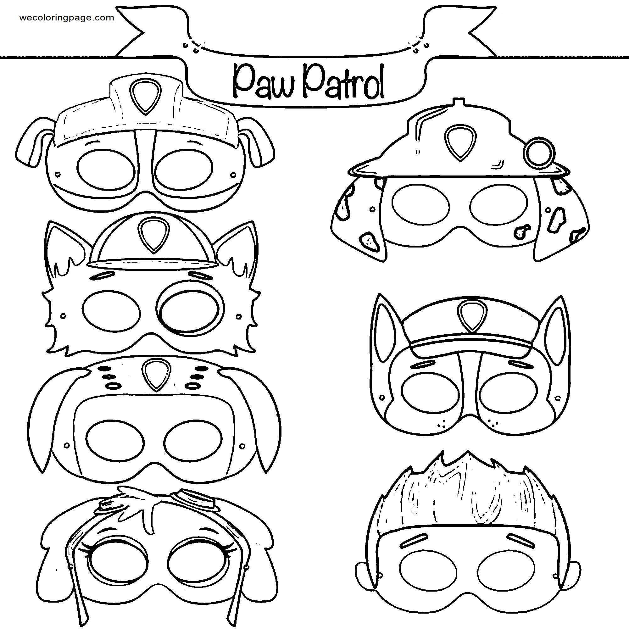 Paw Patrol Masks Coloring Page