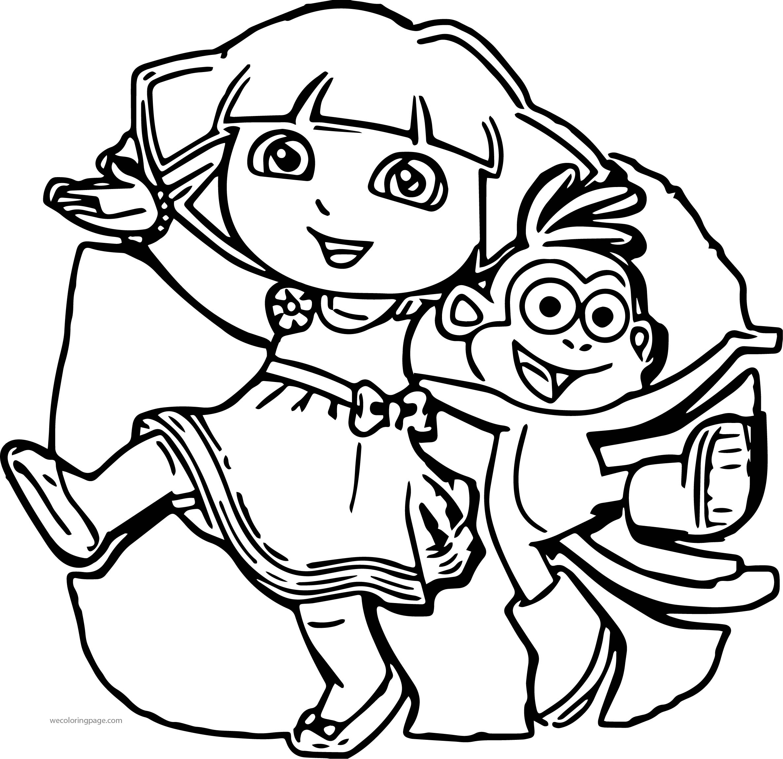 Permainan Dora Monkey Dance Time Cartoon Coloring Page