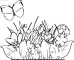 Purple Flowers Grass And Butterfly Clipart Coloring Page