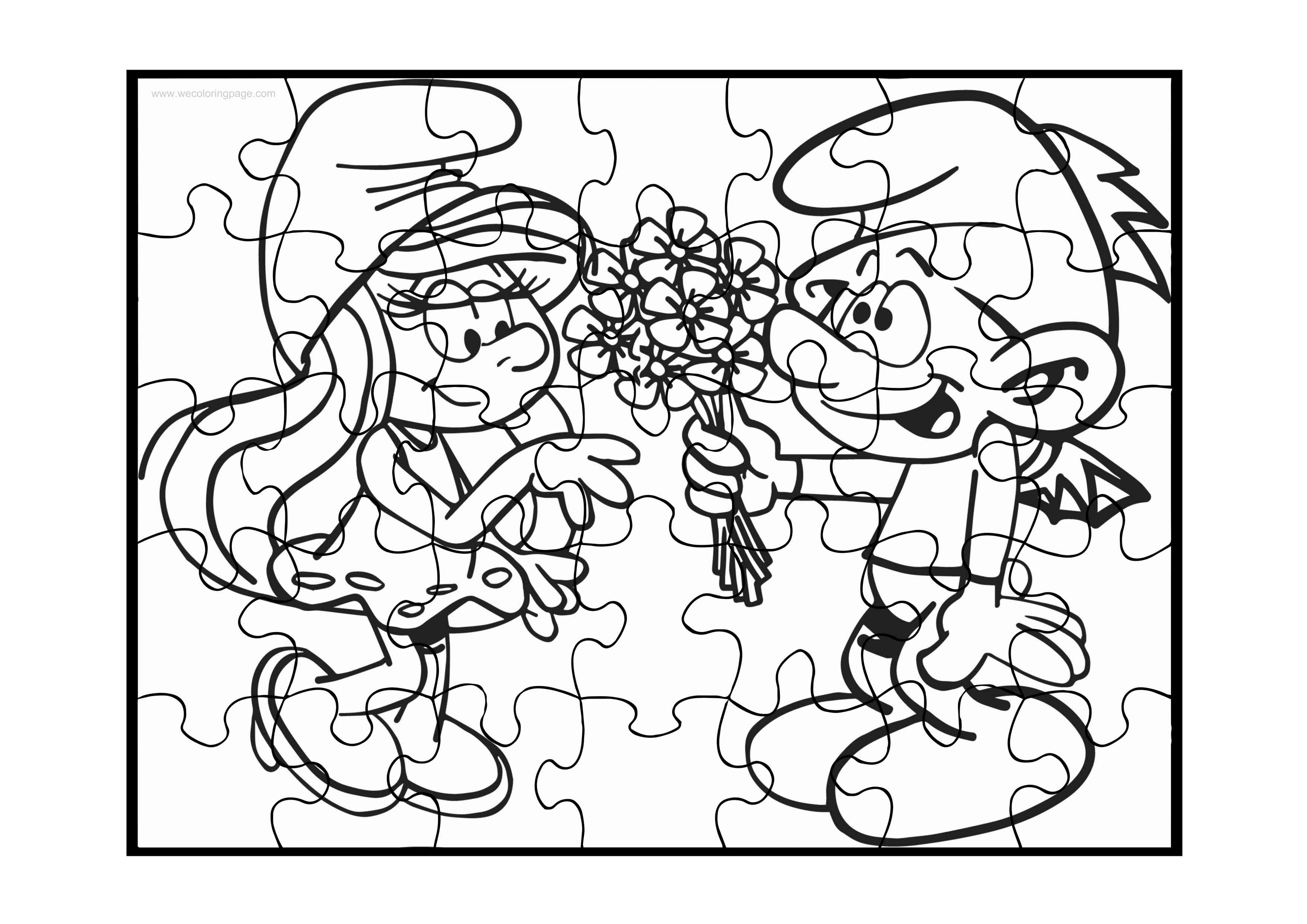 Smurf Puzzle Coloring Page Wecoloringpage Com