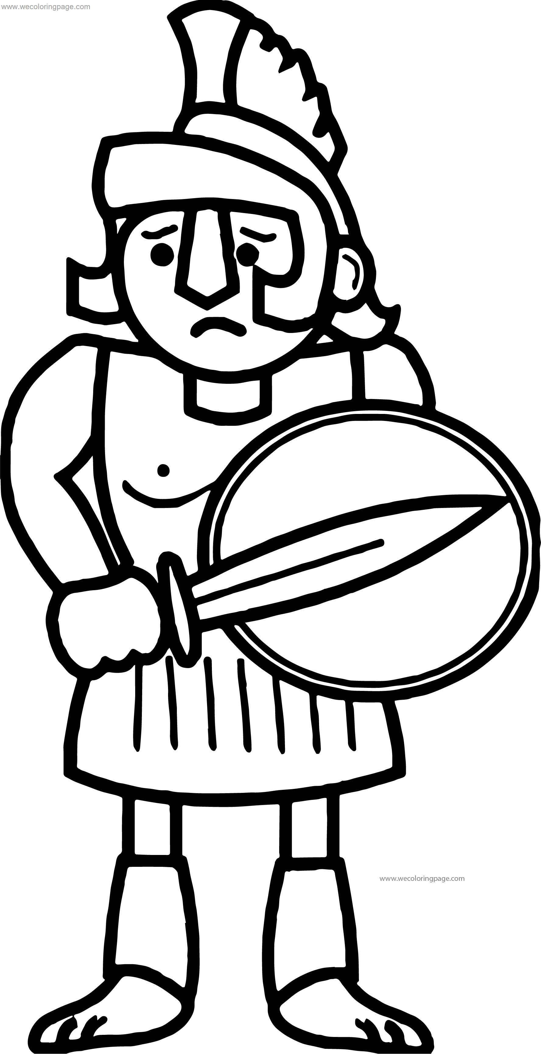Worried Soldier Greece Greek Coloring Page