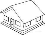 3d House Free Coloring Page
