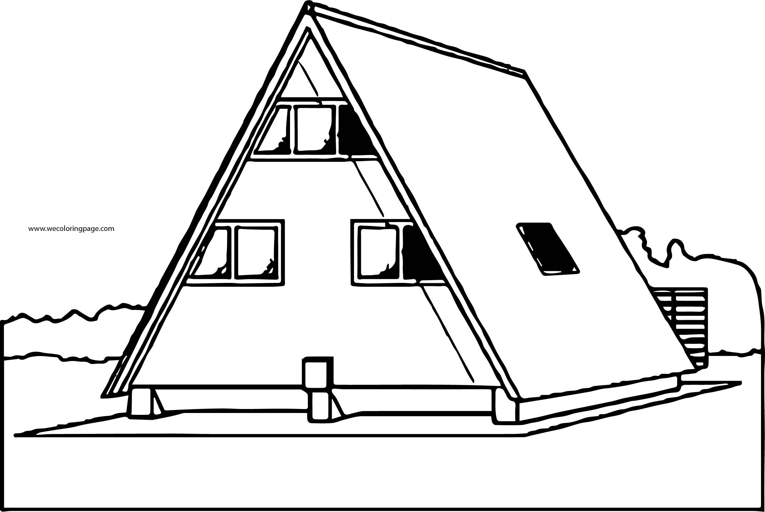 Aframe House Home Coloring Page