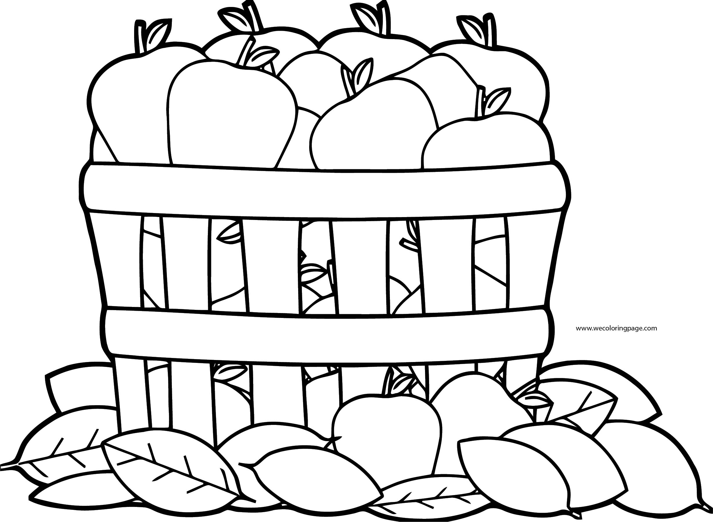 Apple Bucket Fall Coloring Page