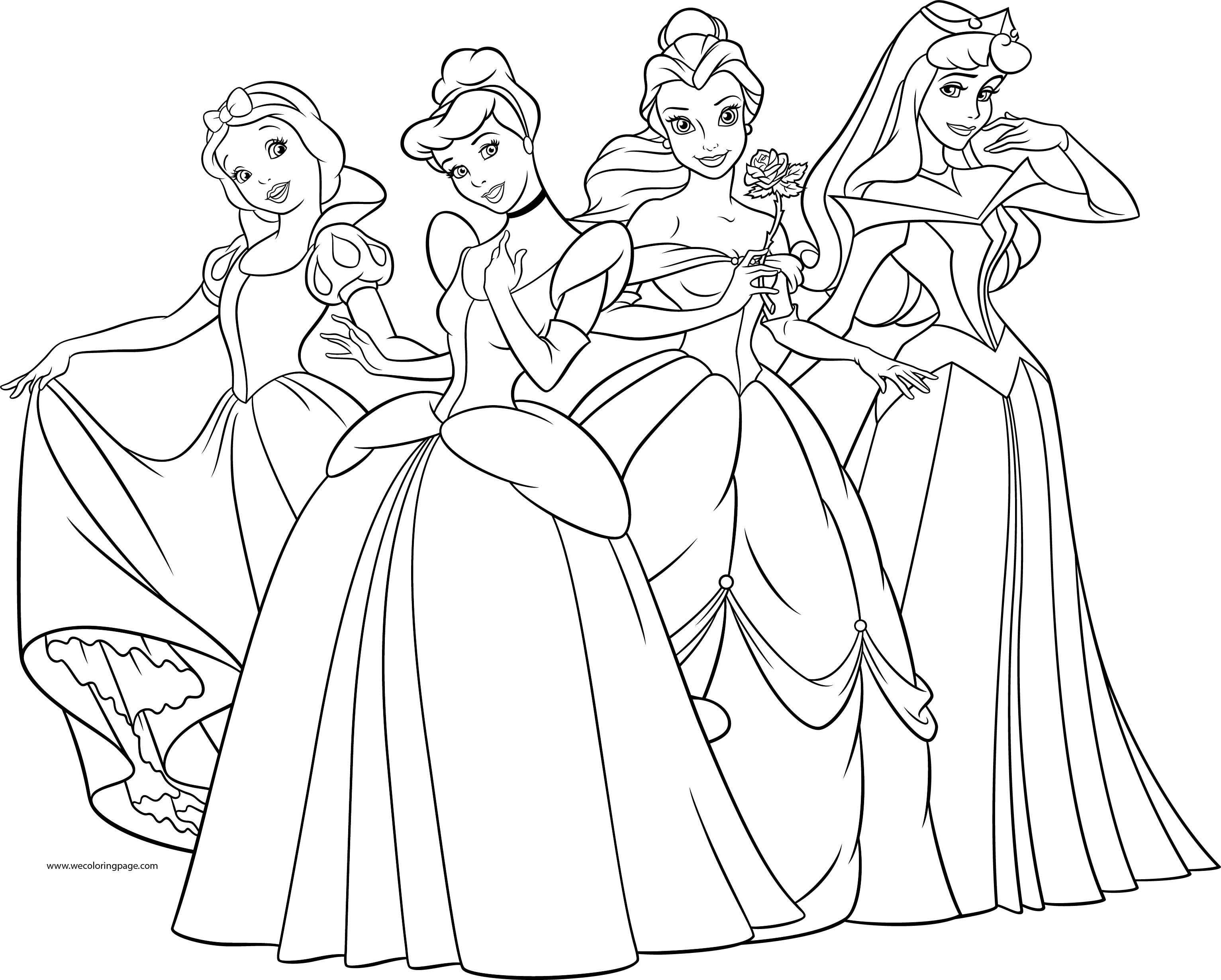 Beautiful Disney Princess Pose Coloring Page