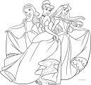 Beautiful Disney Three Princess Dance Time Coloring Page