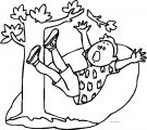 Boy Fall On Tree Coloring Page