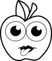 Cartoon Apple Coloring Pages 06