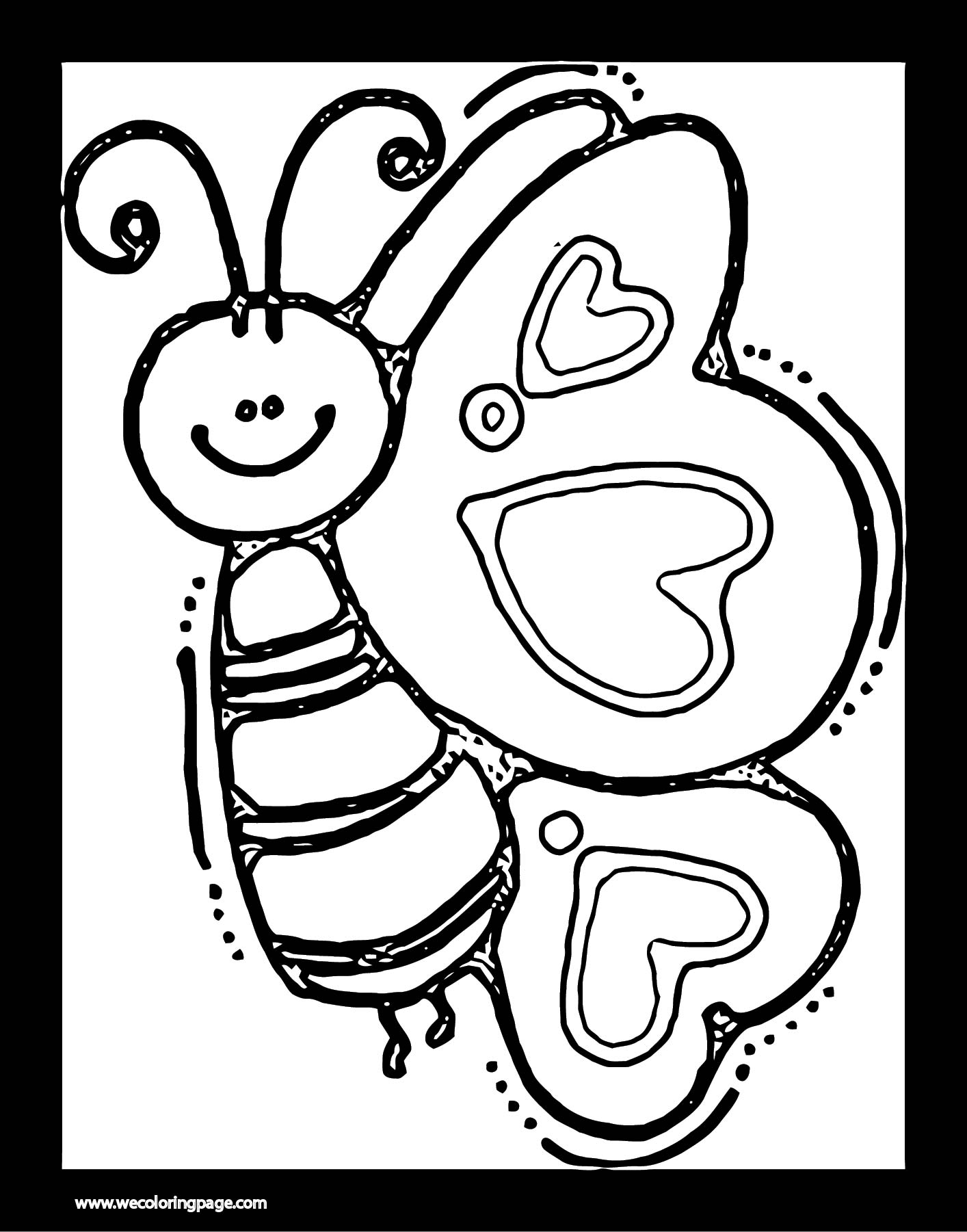 Cartoon Butterfly Frame Coloring Page