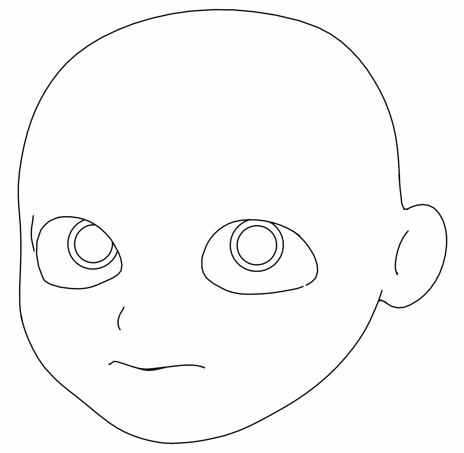 Cartoon Like Boy Head Clean Face Coloring Page