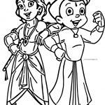 Chhota Bheem And Krishna Coloring Page
