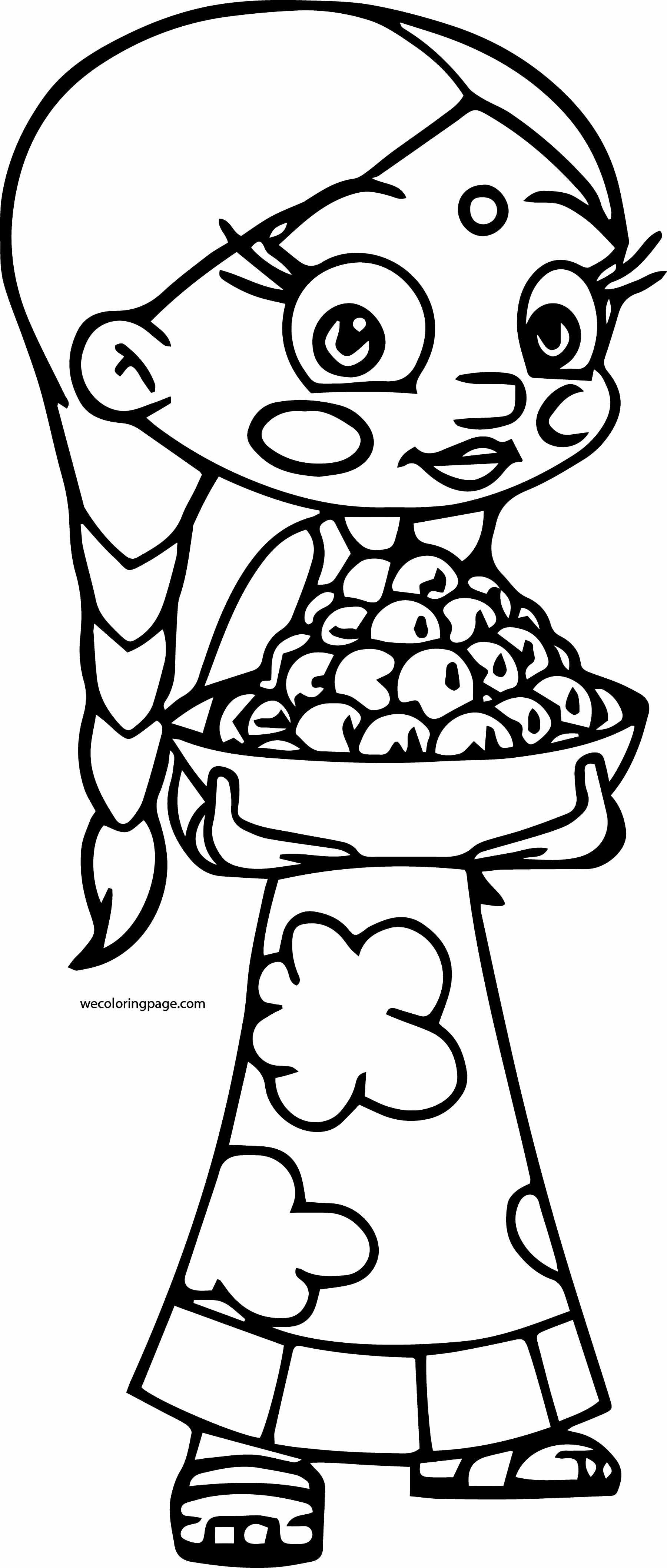 Chhota Bheem Coloring Page 44 Girl Carry Food