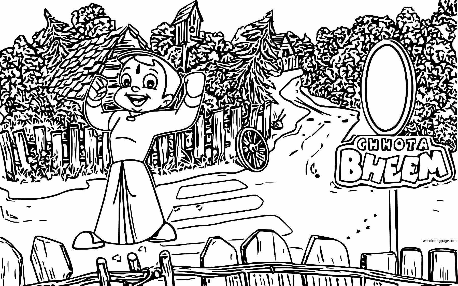 Chhota Bheem Coloring Page 65 In The Village I Am Power Chhota Bheem Coloring