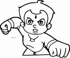 Chhota Bheem Fight Coloring Page