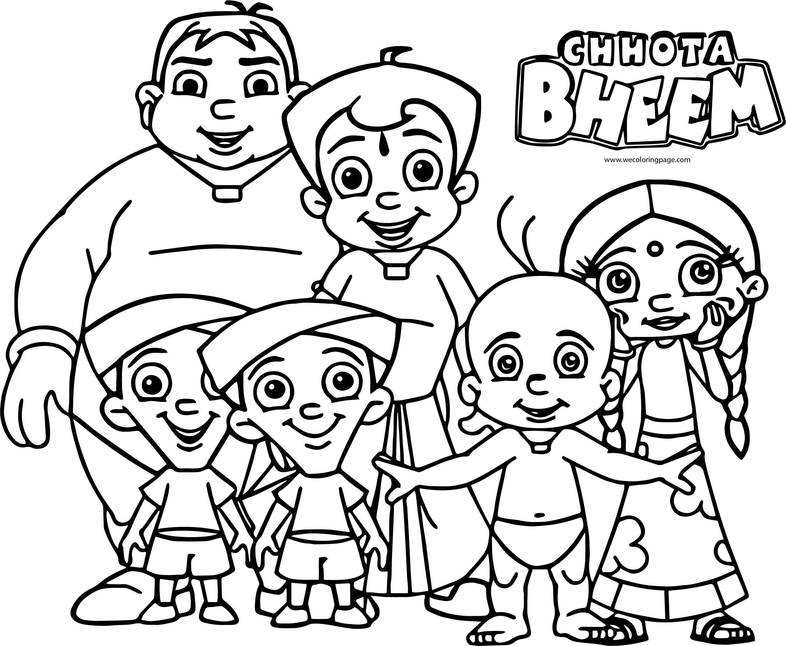 Chhota Bheem Friends Camera Photo Picture Coloring Page