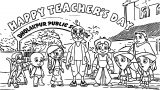 Chhota Bheem Friends Happy Teacher Day Coloring Page