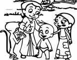 Chhota Bheem Happy And Friends On The Street Coloring Page
