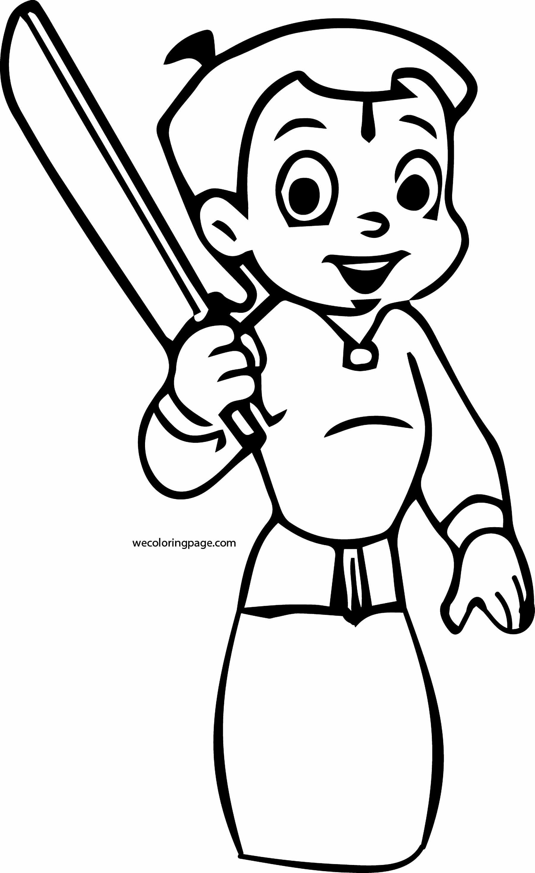 Chhota Bheem Mountain Coloring Page 47 Cricket