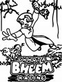 Chhota Bheem Racing Text Chhota Bheem In The Forest Coloring Page