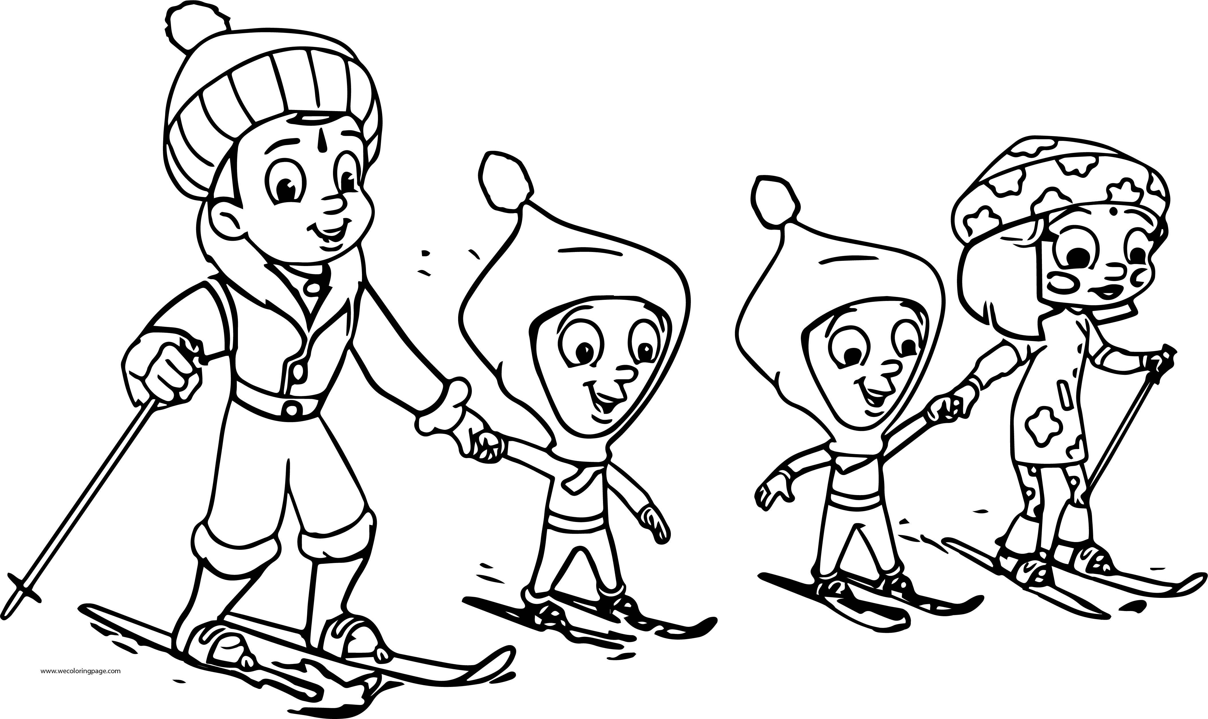 Chhota Bheem Slide With Friends Snow Coloring Page