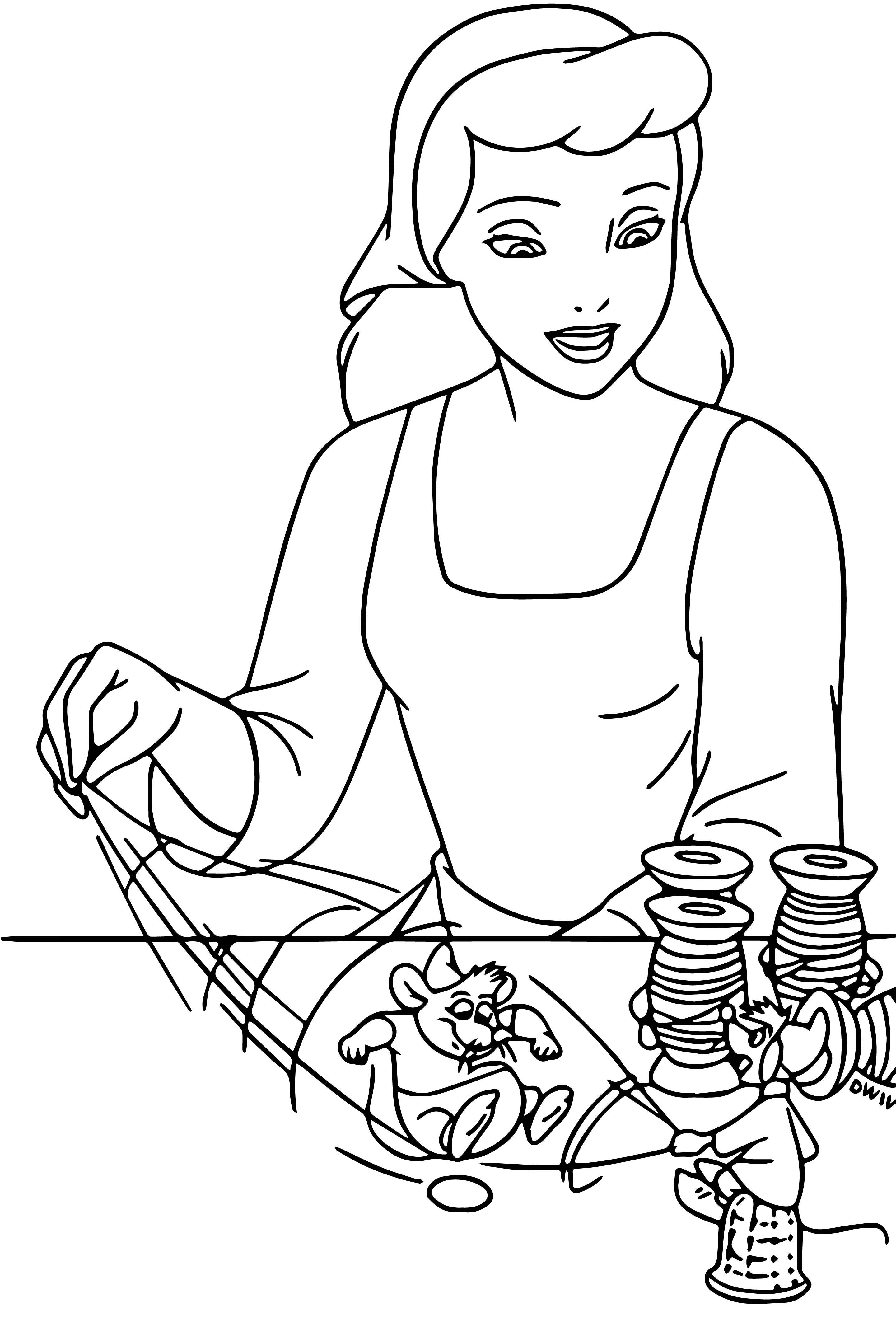 cinderella mice and birds coloring pages 04