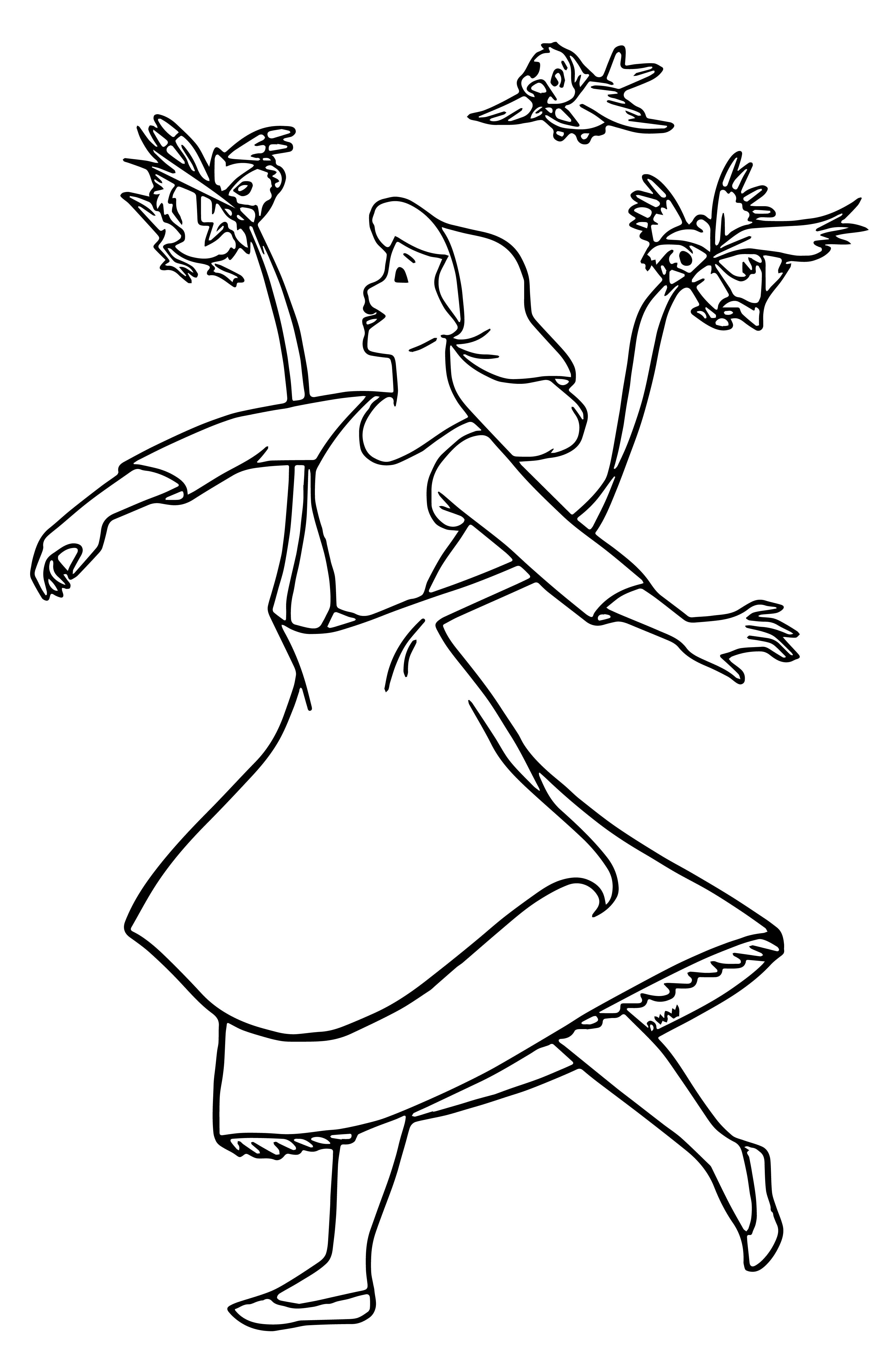 cinderella mice and birds coloring pages 09