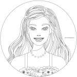 Circle Barbie Girl Coloring Page