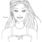 Circle Barbie Girl Face Coloring Page