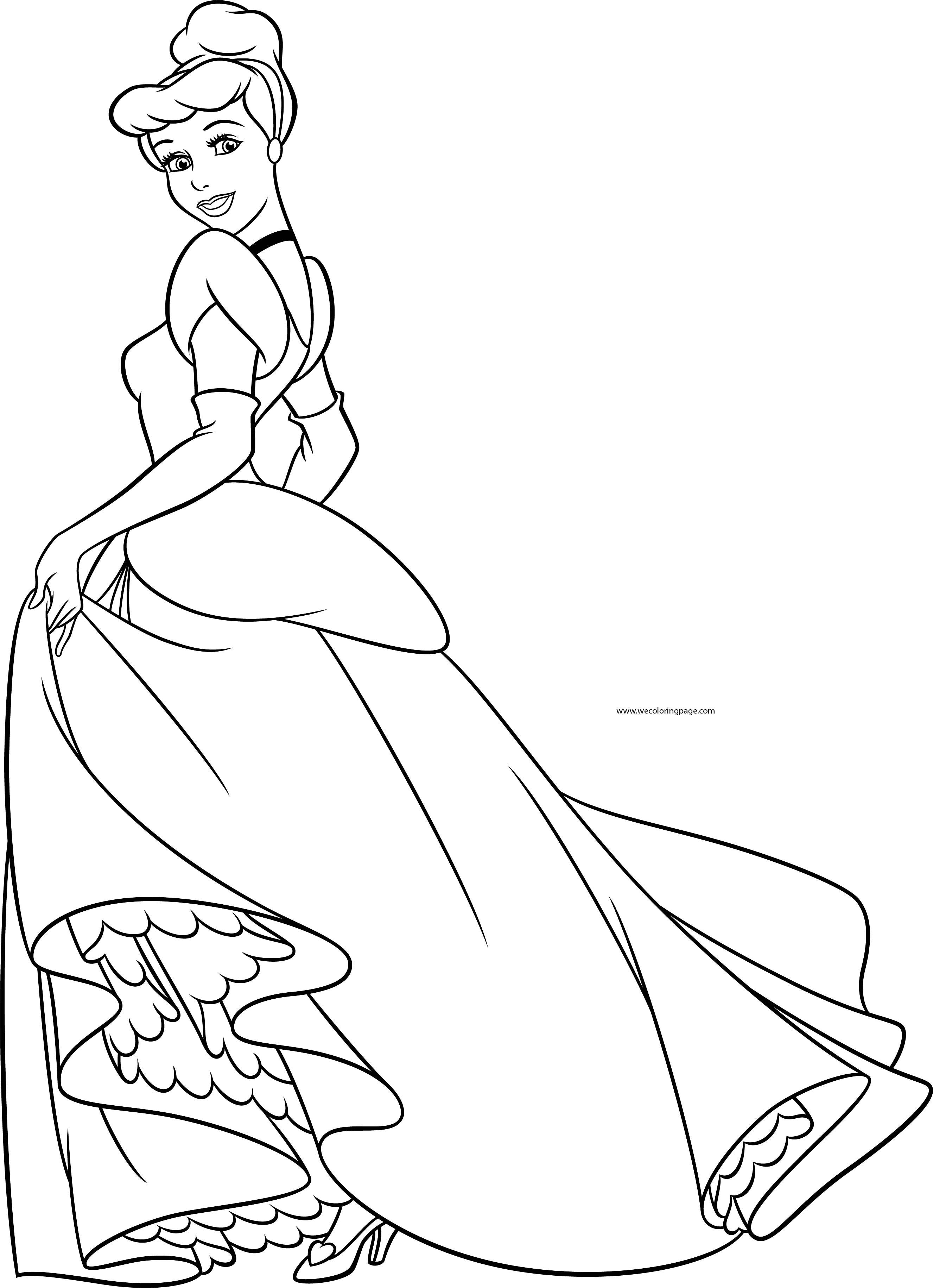 Disney Cinderella Princess Pose Coloring Page | Wecoloringpage.com