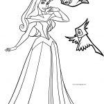 Disney Princess Aurora Birds Coloring Page