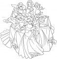 Disney Princess Girls Group Pose Coloring Page