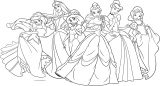 Disney Princess Girls Side Side Coloring Page