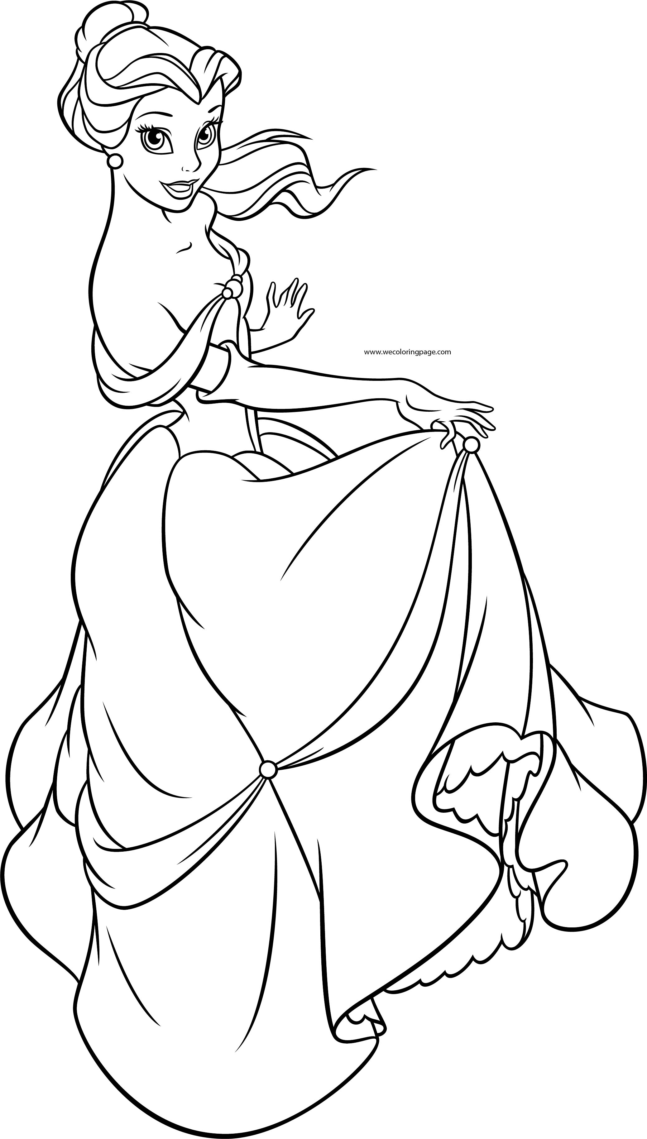 Coloring Page Disney Princess Belle three little pigs houses ...