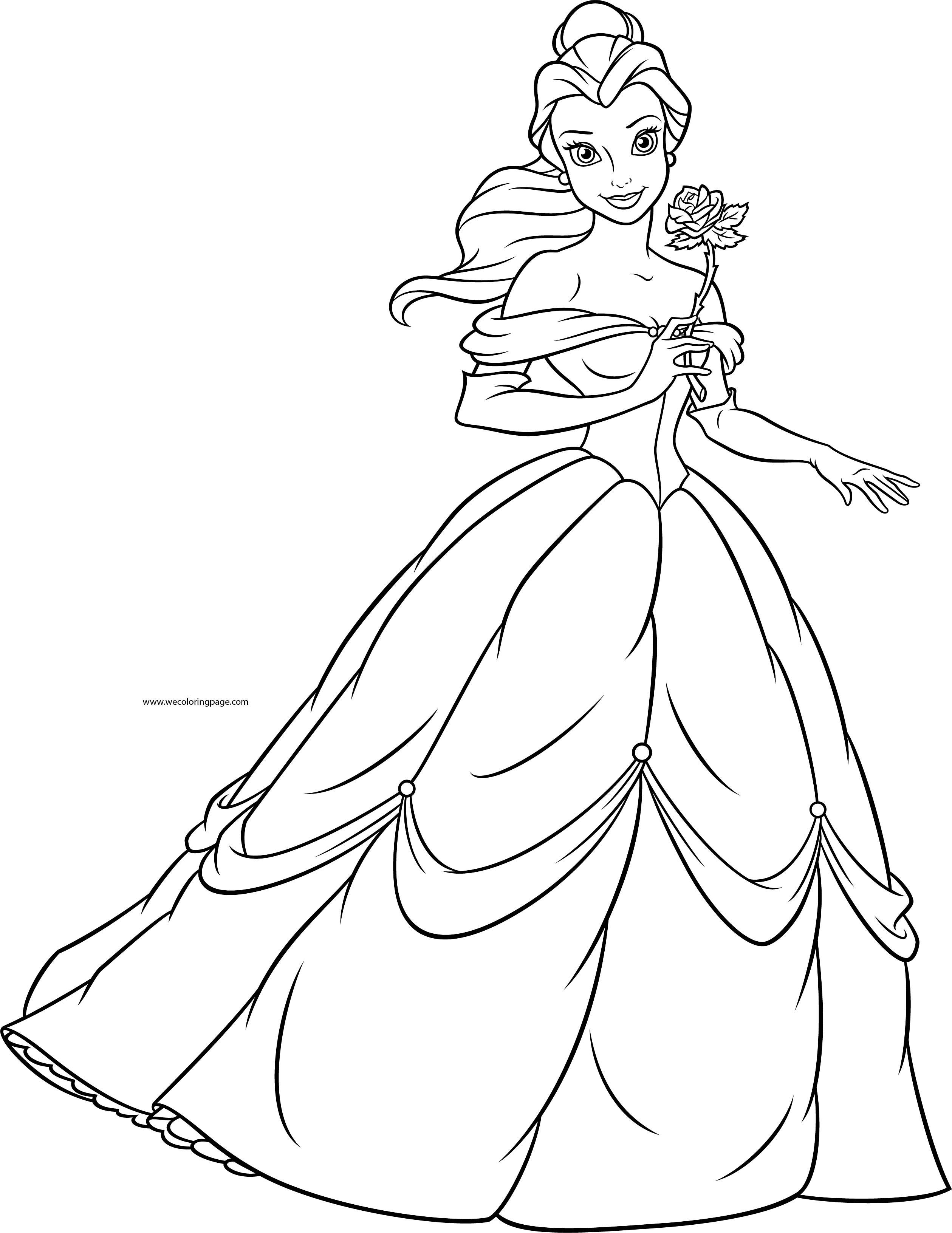 Adventure Time Kleurplaat Disney Princesses Belle Rose Coloring Page