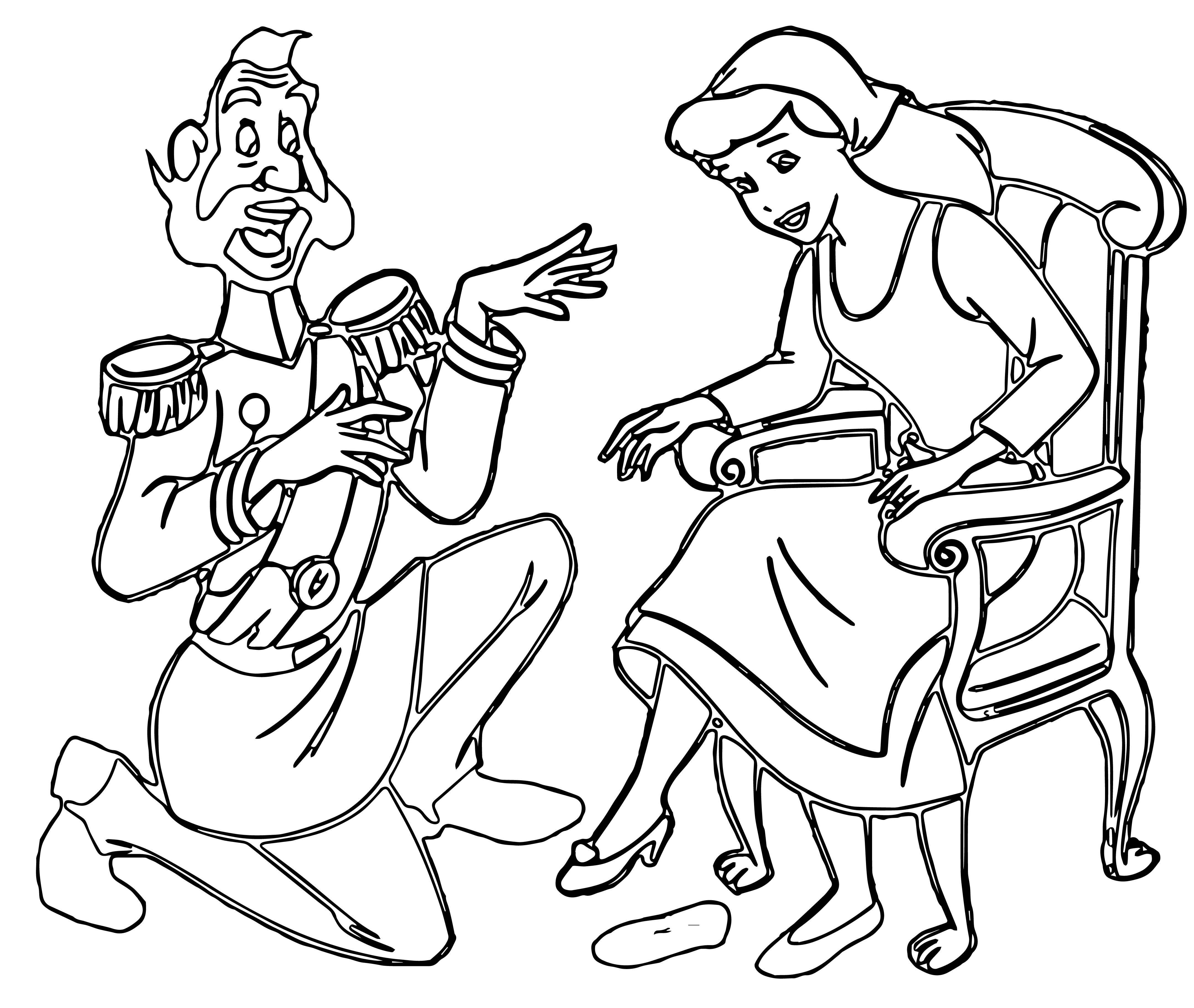 Duke And Cinderella Princess Coloring Page