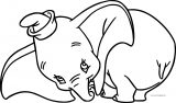 Dumbo Cute Look Coloring Pages